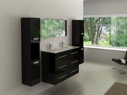 2-Persoons hoogglans zwart badkamermeubel. Type BL471B
