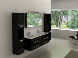 2-Persoons hoogglans zwart badkamermeubel. Type BL358B