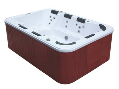 ZS1386  jacuzzi. Afm 2000x2900x950mm. Wit bad en donkere rand/skirts