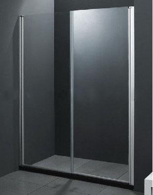 LP149, douche cabine/wand met schuifdeur en zwarte lage douchebak van ca. 120x190cm.