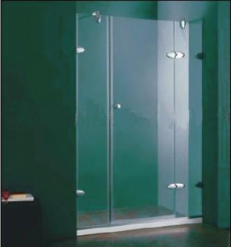 G2010, douche cabine/wand met deur en lage witte douchebak. 190x120cm., helder glas