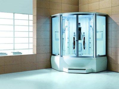 2-Persoons Stoomcabine met Whirlpool Massagebad - Halfrond - Wit bad met witte cabine 160x160x220cm